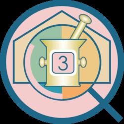 rundes Q Logo von QuaSi-Concept rosa gefüllt mit abstraktem Umriss eines Hauses